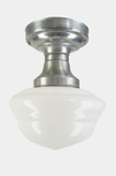 Red Dot steel ceiling fixture with milk glass globe, circa 1930s (2 available)