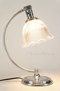 Chrome-plated Chase table lamp with Holophane glass shade, circa 1940s