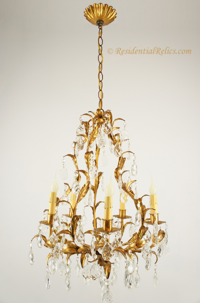 Vintage 1940s italian crystal leaf chandelier 5 candle italian crystal leaf chandelier circa 1940s aloadofball Image collections