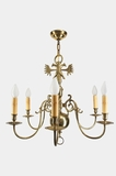 Large double eagle 6-candle brass chandelier, circa 1940s