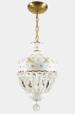 "<i><font color=""#cc6600"">Sold!</i></font color=""#cc6600""> Bohemian Czech white opaline overlay cut crystal basket pendant light, circa 1950s"
