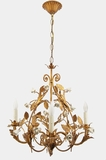 Italian gilt chandelier with white ceramic roses, circa 1950s