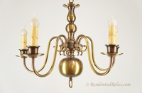 5-candle brass Colonial Williamsburg Dutch-style chandelier, circa 1940s