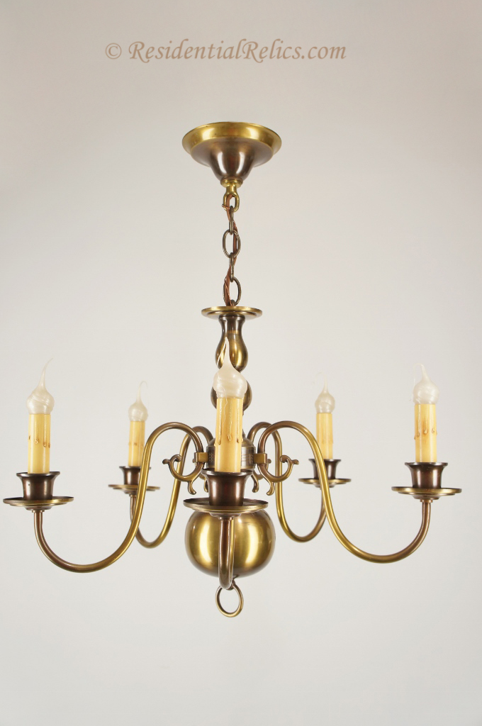 5 Candle Brass Dutch Style Chandelier Circa 1940s