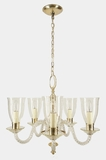 "<i><font color=""#cc6600"">Sold!</i></font color=""#cc6600""> 5-candle silver plated chandelier with engraved glass shades, circa 1930s"