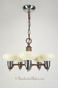 5-light Deco chandelier with custard glass shades, circa 1940s