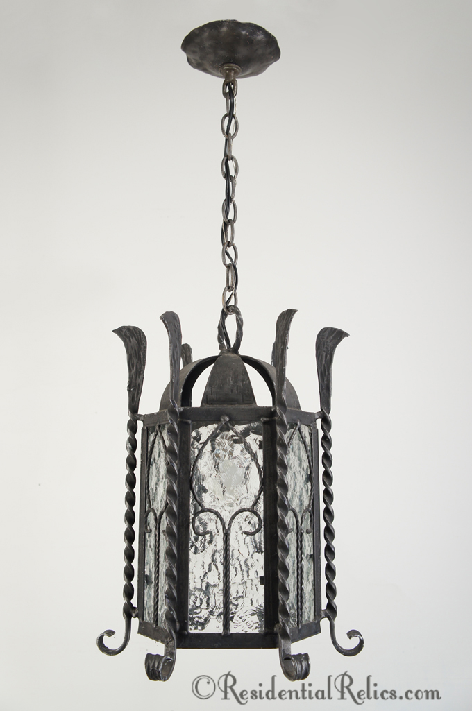 Vintage 6 sided wrought iron lantern with textured glass panels 6 sided wrought iron lantern with textured glass panels circa 1930s aloadofball Image collections