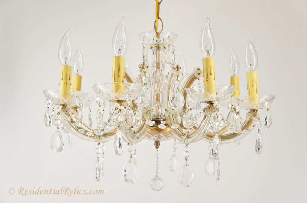 8 Candle Italian Maria Theresa Style Crystal Chandelier Circa 1940s