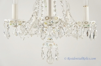 5-candle Bohemian Czech white opaline overlay cut crystal chandelier, circa 1930s