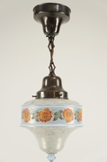 Brass pendant light with blue cased and stenciled globe, circa 1930s