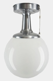 Brushed steel ceiling fixture with white glass globe, circa 1950s