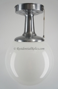 "<i><font color=""#cc6600"">On Hold!</i></font color=""#cc6600""> Brushed steel ceiling fixture with white glass globe, circa 1950s"