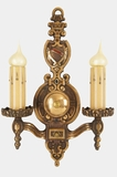 Cast brass 2-candle Tudor style wall sconce, circa 1930s