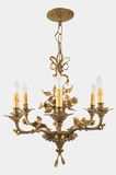 Cast brass 6-light chandelier with acorn leaf decoration, circa 1930s