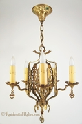 Cast-brass Tudor polychrome chandelier, circa 1930s
