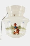 "<i><font color=""#cc6600"">Sold!</i></font color=""#cc6600""> Ceramic ceiling fixture with hand-painted Dutch children scene, circa 1930s"