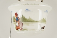 Ceramic ceiling fixture with hand-painted Dutch children scene, circa 1930s