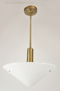 Chase Company brass pendant light with large Phoenix glass shade, circa 1930s