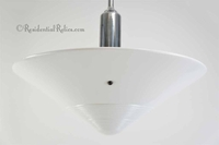 Chrome-plated pendant light with large inverted white glass shade, circa 1930s