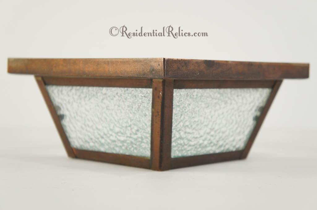 Vintage copper ceiling fixture cover with textured glass panels ...