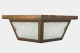 Copper ceiling fixture cover with textured glass panels, circa 1960s