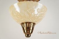 Petite ceiling fixture with iridescent embossed glass shade, circa 1940s