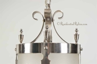 Silver plated entry lantern with engraved glass cylinder, circa 1930s