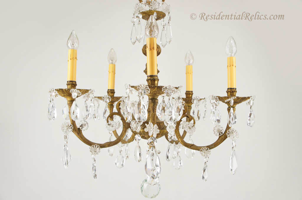 Vintage spanish cast brass and cut crystal chandelier circa 1940s 5 candle spanish cast brass and cut crystal chandelier circa 1940s aloadofball Image collections
