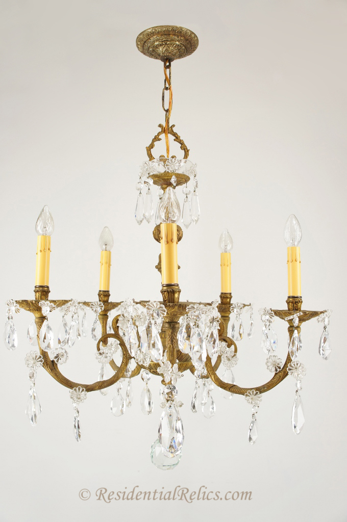 Vintage Spanish Cast Brass And Cut Crystal Chandelier