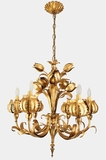 "<i><font color=""#cc6600"">Sold!</i></font color=""#cc6600""> Tulip and peony 6-light Italian gilt chandelier, circa 1950s"