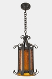 Mid-century wrought iron lantern with textured amber glass cylinder, circa 1950s