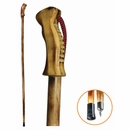 55� Wooden Hiking Stick with Curved Wooden Handle [NFS]