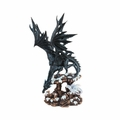 Black Dragon Perched on Snow Covered Rock Figurine