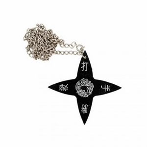 Black Throwing Star Necklace