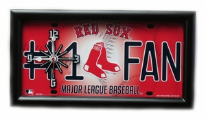 Boston Red Sox License Plate Clock