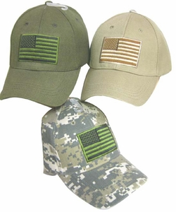 Adjustable Cap -Embroidered Tactical U.S. Flag-Assorted