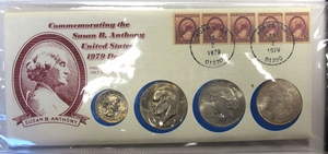 Susn B. Anthony Coin & Stamp Set w/ 2 Old Silver Dollars - Click to enlarge