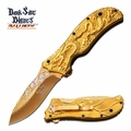 "Dark Side Blades ""Dragon's Breath"" Gold Toned Assisted Opening Knife"