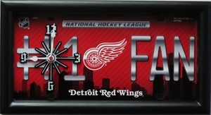 Detriot Redwings License Plate Clock