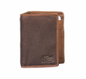 IKS Premium Brown Soft Leather Tri-fold Wallet - Click to enlarge