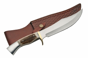 """Iron Cougar I 10.25"""" Stag Handled Hunting Knife"""