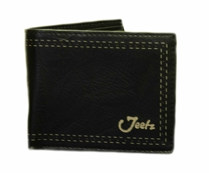 Jeetz Handmade Men's Black Double Stitch Print Wallet