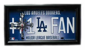Los Angeles Dodgers License Plate Clock