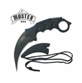 Master USA Black Tactical Combat Karambit Fixed-Blade Neck Knife w/ Lanyard Sheath