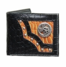 Men's Black/Tan Genuine Leather State of Texas with Star Metal Concho Bi-fold Wallet with Ostrich Skin Pattern