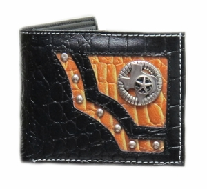 Men's Black/Tan Genuine Leather State of Texas with Star Metal Concho Bi-fold Wallet with Ostrich Skin Pattern - Click to enlarge