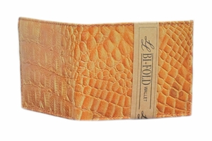 Men's Tan Leather Bi-fold Wallet with Crocodile Skin Pattern - Click to enlarge