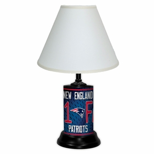 New England Patriots License Plate Lamp w/White Shade