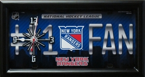 New York Raqngers License Plate Clock