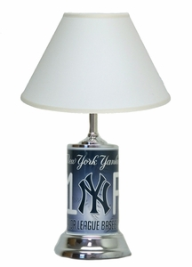 New York Yankees License Plate Lamp with White Shade